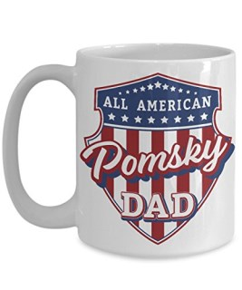 Pomsky Dad Mug - White Cup Gift for Dog Lover American Patriots
