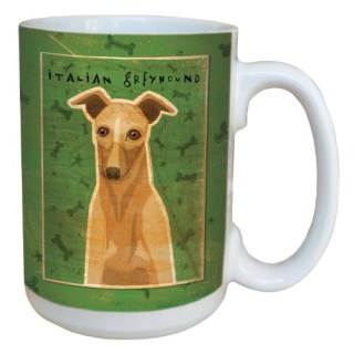 Tree-Free Greetings sg44075 Fawn Italian Greyhound by John W. Golden Ceramic Mug with Full-Sized Handle, 15-Ounce