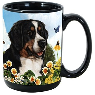 Garden Party 15 Oz Coffee Mug Cup (Bernese Mountain Dog)