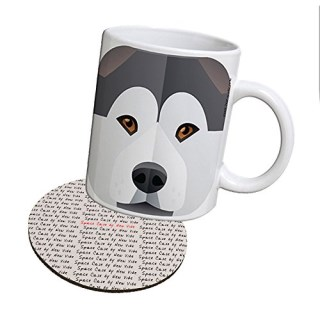Space Case by New Vibe Coffee Mug Cup & Drink Coaster - Alaskan Malamute