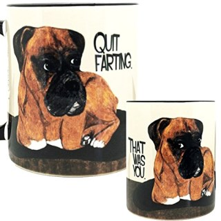 Farting Boxer Dog Mug by Pithitude - One Single 11oz. Black Coffee Mug