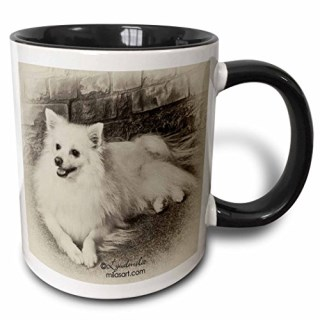 3dRose 3dRose American Eskimo Dog - Two Tone Black Mug, 11oz (mug_4631_4), , Black/White
