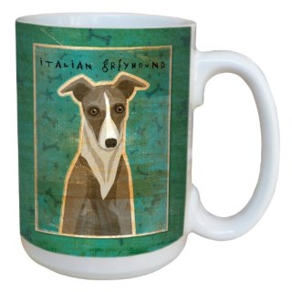 Tree-Free Greetings sg44076 White and Grey Italian Greyhound by John W. Golden Ceramic Mug with Full-Sized Handle, 15-Ounce