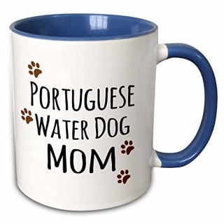 "3dRose mug_154177_6 ""Portuguese Water Dog Mom Doggie by breed muddy Brown Paw Print Doggy Lover"" Two Tone Blue Mug, 11 oz, Blue/White"