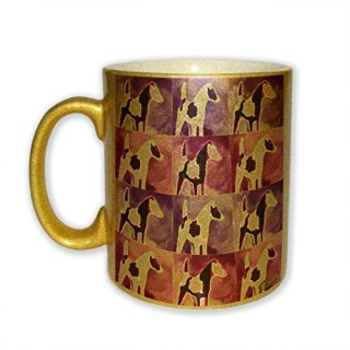 Black Smooth Fox Terrier Abstract Dog Electric Art by Denise Every - Gold Sparkle Coffee Mug with Round Rubber Drink Coaster
