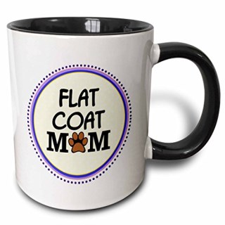 3dRose (mug_151742_4) Flat Coat Dog Mom - flat-coated retriever doggie mama by bread - paw print - doggy lover - pet owner - Two Tone Black Mug, 11oz