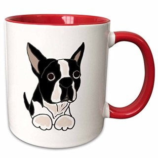 "3dRose mug_216347_5 ""Cute Boston Terrier Puppy Dog Original"" Two Tone Red Mug, 11 oz, Red/White"