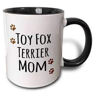3dRose mug_154209_4 Toy Fox Terrier Dog Mom Doggie by Breed Brown Paw Prints Doggy Lover Proud Pet Owner Mama Two Tone Black Mug, 11 oz, Black/White