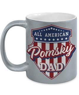 Pomsky Dad Mug - Silver Cup Gift for Dog Lover American Patriots