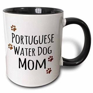 3dRose 3dRose Portuguese Water Dog Mom - Doggie by breed - muddy brown paw print doggy lover proud mama pet owner - Two Tone Black Mug, 11oz (mug_154177_4), , Black/White