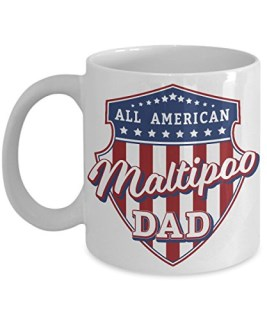 Maltipoo Dad Mug - White Cup Gift for Dog Lover American Patriots