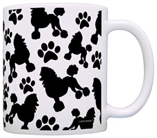 Poodle Gift Poodle Paw Print Pattern Gift Coffee Mug Tea Cup White