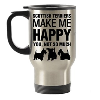 Scottish Terriers Make Me Happy Stainless Steel Travel Insulated Tumblers Mug