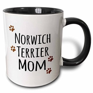 3dRose mug_154164_4 Norwich Terrier Dog Mom Doggie by breed muddy brown paw prints doggy lover pet owner mama love Two Tone Black Mug, 11 oz, Black/White