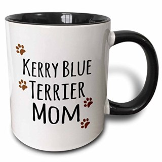 3dRose 3dRose Kerry Blue Terrier Dog Mom - Doggie by breed - brown muddy paw prints - doggy lover - pet owner mama - Two Tone Black Mug, 11oz (mug_154144_4), , Black/White