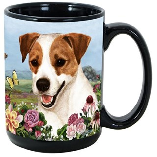 (Jack Russell Terrier) Garden Party 15 Oz Black Coffee Cup Mug, Dog & Cat Pet Gift, For Extreme Animal Lovers!