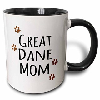 3dRose (mug_154128_4) Great Dane Dog Mom - Doggie by breed - brown muddy paw prints doggy lover proud pet owner mama love - Two Tone Black Mug, 11oz