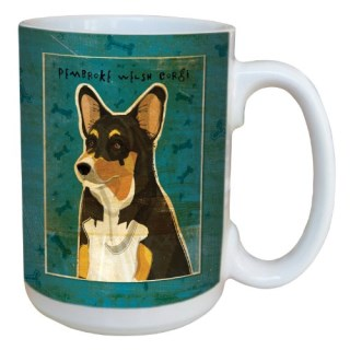 Tree-Free Greetings sg44043 Tri-color Pembroke Welsh Corgi by John W. Golden Ceramic Mug with Full-Sized Handle, 15-Ounce