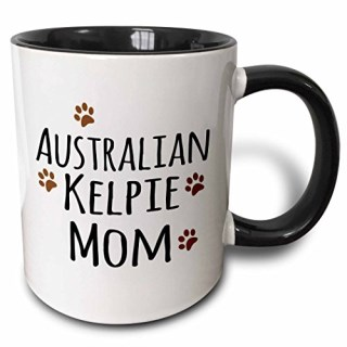 3dRose (mug_154060_4) Australian Kelpie Dog Mom - Doggie by breed - muddy brown paw prints - doggy lover love pet owner - Two Tone Black Mug, 11oz