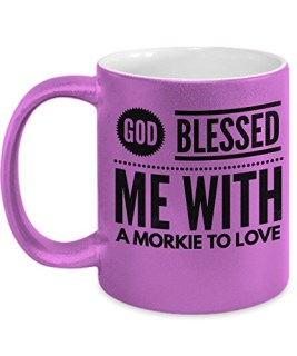 God Blessed Me with a Morkie To Love Metallic Pink Coffee Mug - Cool Coffee Cup