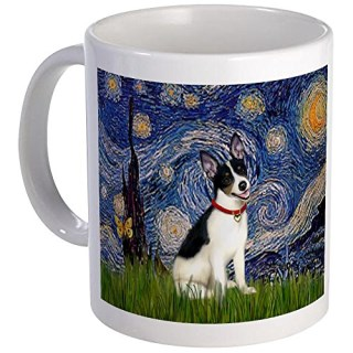 Starry Night and Rat Terrier Mug Mug by CafePress