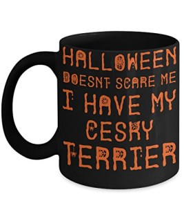 Halloween Cesky Terrier Mug - White 11oz Ceramic Tea Coffee Cup - Perfect For Travel And Gifts