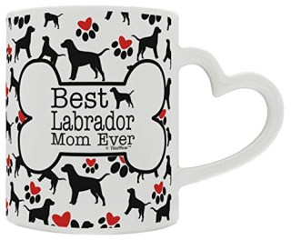 Labrador Retriever Gift Best Labrador Mom Ever Dog Owner Gifts Lab Dog Lover Heart Handle Gift Coffee Mug Tea Cup Heart Handle