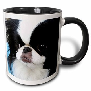 3dRose 3dRose Japanese Chin - Two Tone Black Mug, 11oz (mug_4242_4), , Black/White