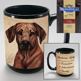 Rhodesian Ridgeback 15-oz Coffee Mug with 1 Pack of Ghirardelli Double Chocolate Hot Cocoa