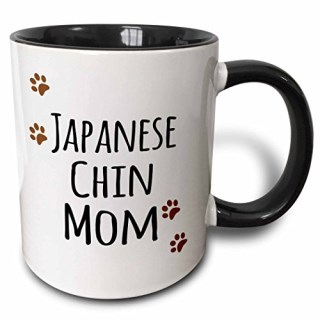 3dRose 3dRose Japanese Chin Dog Mom - Doggie by breed - muddy brown paw prints - doggy lover proud pet owner mama - Two Tone Black Mug, 11oz (mug_154142_4), , Black/White