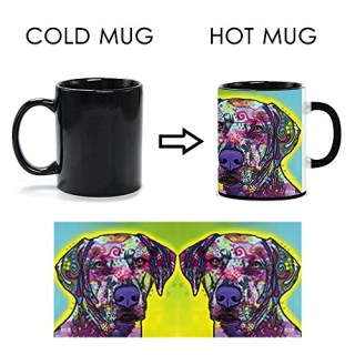 CafeTime Rhodesian Ridgeback Heat Activated Mugs Art Dog Colorful Mug Color Changing Ceramic Coffee Tea Mug Customized Gift Magic Animals Cup 11oz
