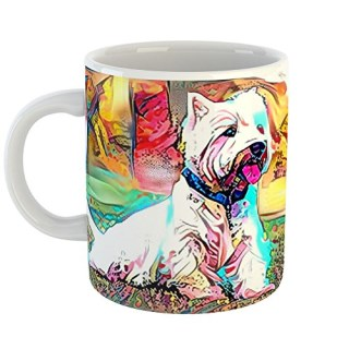 Westlake Art - Glen Of Imaal Terrier Dog Coffee Mug 11 oz - Modern Abstract Artwork for Home Office Decoration Unique Gift Idea