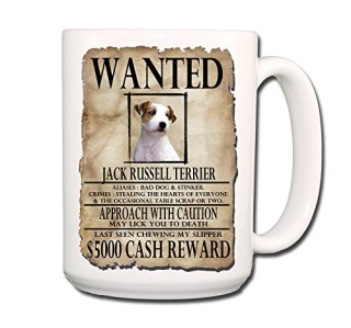 Jack Russell Terrier Wanted Poster Coffee Tea Mug 15 oz