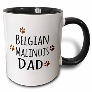 3dRose 3dRose Belgian Malinois Dog Dad - doggie by breed - brown muddy paw prints - doggy lover - proud pet owner - Two Tone Black Mug, 11oz (mug_153944_4), , Black/White