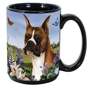 Garden Party [A-K] Boxer Cropped 15 oz Coffee Mug Bundle with Non-Negotiable K-Nine Kash by Imprints Plus (032)