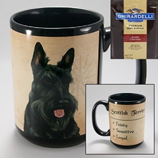 Scottish Terrier 15-oz Coffee Mug with 1 Pack of Ghirardelli Double Chocolate Hot Cocoa