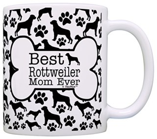 Dog Owner Gifts Best Rottweiler Mom Ever Paw Pattern Gift Coffee Mug Tea Cup Bone Pattern