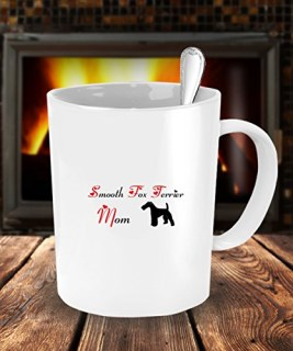 Dog Lover Gifts For Mom - Smooth Fox Terrier Dog White Coffee Mug - 15 oz Tea Cup - Ceramic
