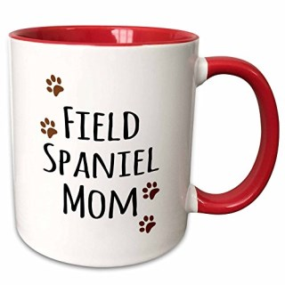 3dRose 154117_5 Field Spaniel Dog Mom Two Tone Mug, 11 oz, Red