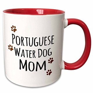 "3dRose mug_154177_5 ""Portuguese Water Dog Mom Doggie by breed muddy Brown Paw Print Doggy Lover Two Tone Red"" Mug, 11 oz, Red/White"