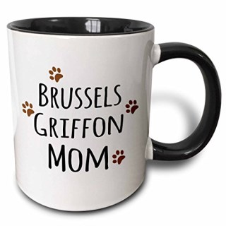 3dRose Brussels Griffon Dog Mom Doggie By Breed Brown Muddy Paw Prints Love Doggy Lover Pet Owner Two Tone Black Mug, 11 oz, Black/White