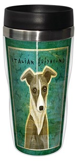 White and Grey Italian Greyhound Dog Travel Mug, Stainless Lined Coffee Tumbler, 16-Ounce -Cute  Gift for Puppy Lovers - Tree-Free Greetings sg24076