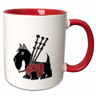 "3dRose mug_218740_5 ""Funny Scottish Terrier Playing the Bagpipes"" Two Tone Red Mug, 11 oz, Red/White"