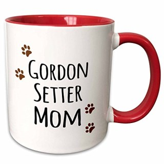 "3dRose mug_154127_5 ""Gordon Setter Dog Mom Doggie by breed Brown Muddy Paw Prints doggy Lover Two Tone Red"" Mug, 11 oz, Red/White"