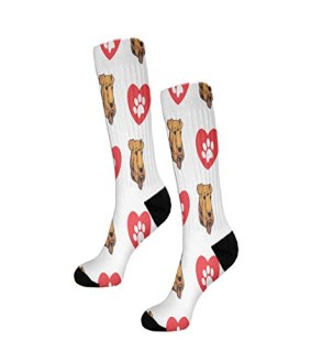 "Airedale Terrier Dog Heart Paws Fun 11"" Cuff Crew Men Women Socks"