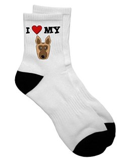 TooLoud I Heart My - Cute German Shepherd Dog Adult Short Socks - Select Your Size