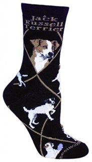 Jack Russell Terrier Dog Black Cotton Ladies Socks