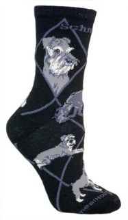 Miniature Schnauzer Black Cotton Dog Novelty Socks for Adults 9-11