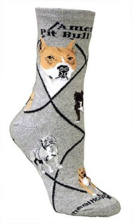 American Pit Bull Terrier on Gray Ultra Lightweight Cotton Crew Socks - Made in USA