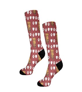 "Airedale Terrier Dog Red Paw Heart Fun 11"" Cuff Crew Men Women Socks"